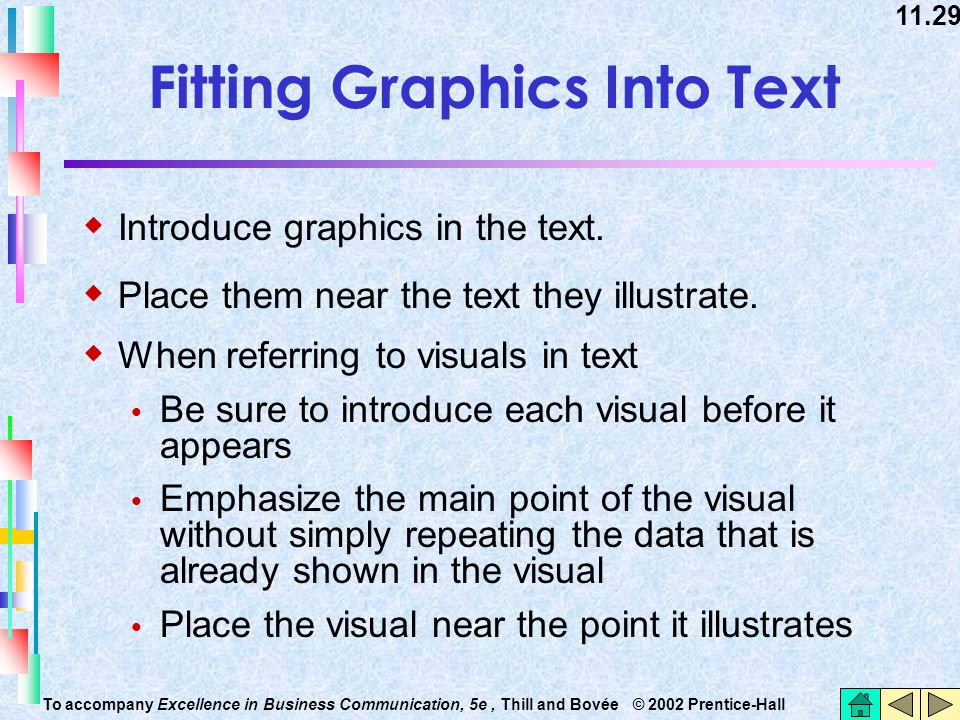 11.29 To accompany Excellence in Business Communication, 5e, Thill and Bovée © 2002 Prentice-Hall Fitting Graphics Into Text  Introduce graphics in t