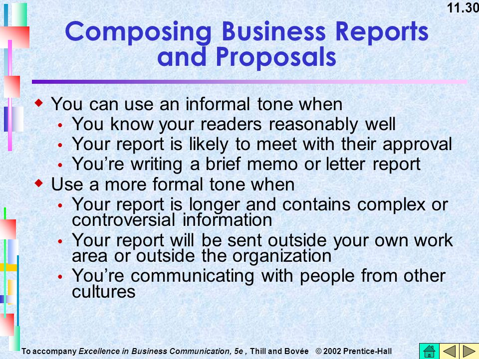 11.30 To accompany Excellence in Business Communication, 5e, Thill and Bovée © 2002 Prentice-Hall Composing Business Reports and Proposals  You can u