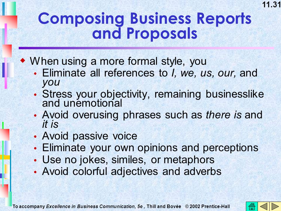 11.31 To accompany Excellence in Business Communication, 5e, Thill and Bovée © 2002 Prentice-Hall Composing Business Reports and Proposals  When usin