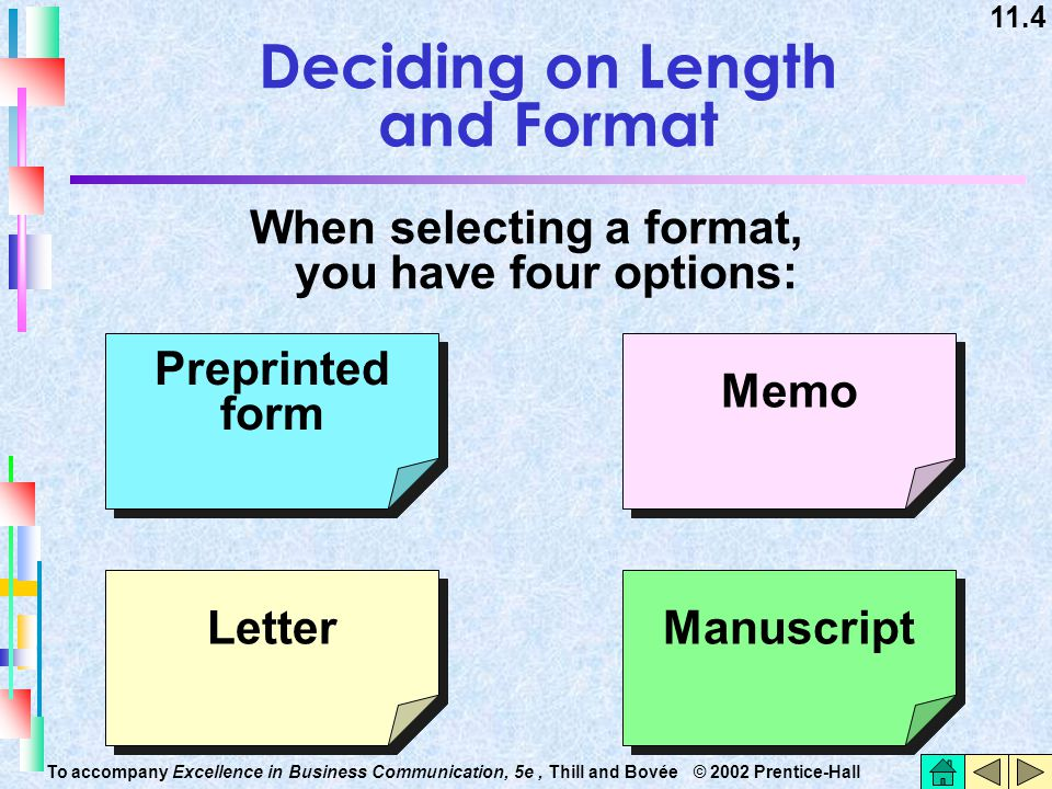 11.4 To accompany Excellence in Business Communication, 5e, Thill and Bovée © 2002 Prentice-Hall Deciding on Length and Format When selecting a format