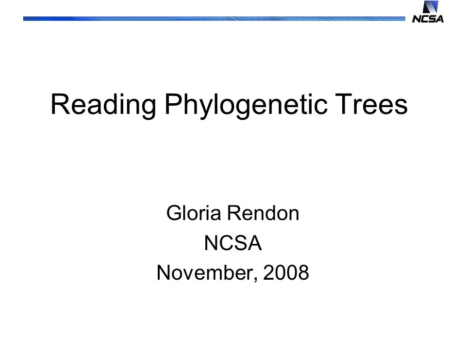 Reading Phylogenetic Trees Gloria Rendon NCSA November, 2008