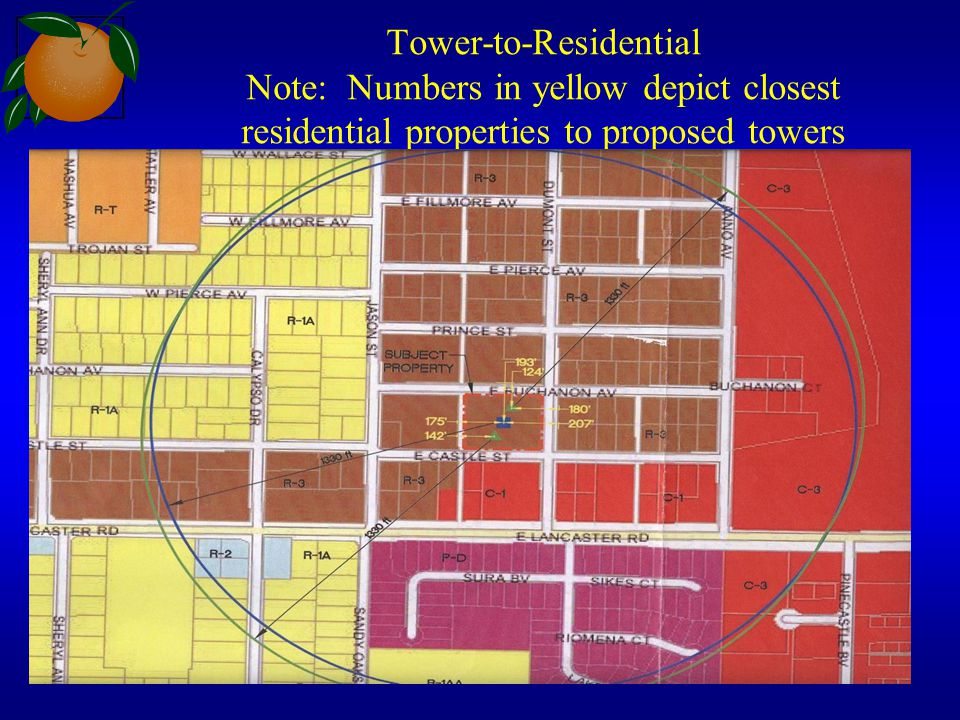 Tower-to-Residential Note: Numbers in yellow depict closest residential properties to proposed towers