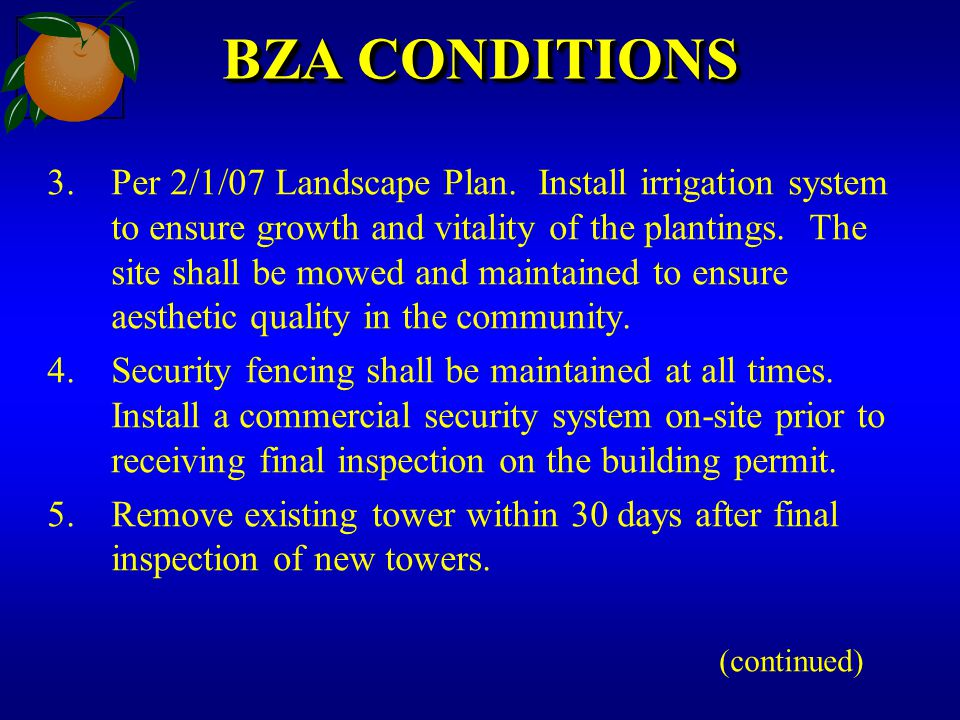 BZA CONDITIONS 3.Per 2/1/07 Landscape Plan. Install irrigation system to ensure growth and vitality of the plantings. The site shall be mowed and main