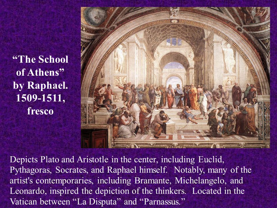 """""""The School of Athens"""" by Raphael. 1509-1511, fresco Depicts Plato and Aristotle in the center, including Euclid, Pythagoras, Socrates, and Raphael hi"""