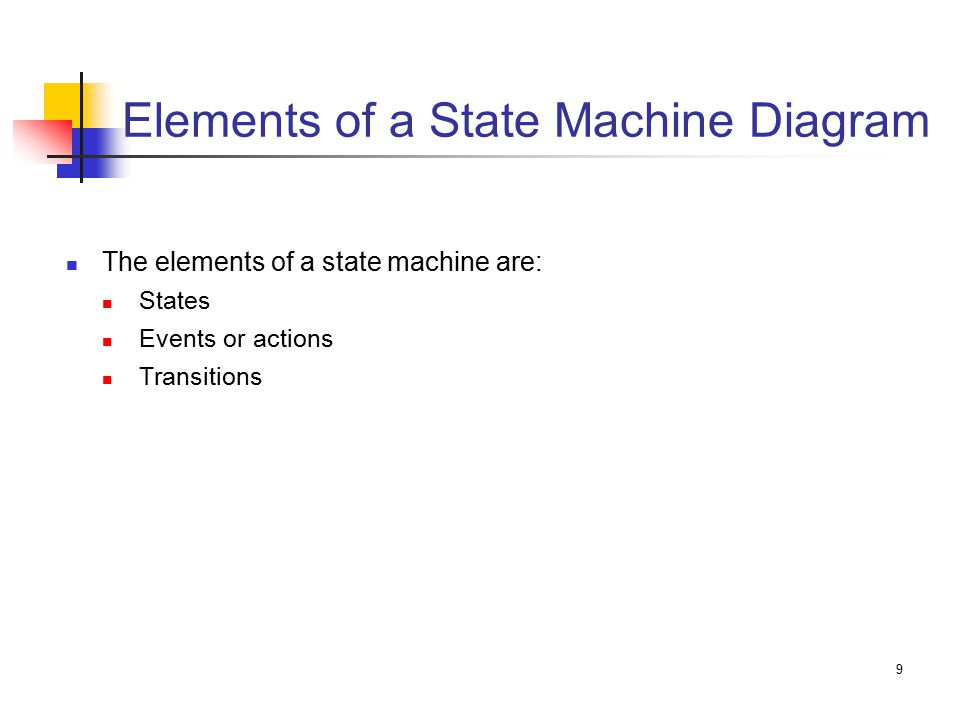 9 Elements of a State Machine Diagram The elements of a state machine are: States Events or actions Transitions
