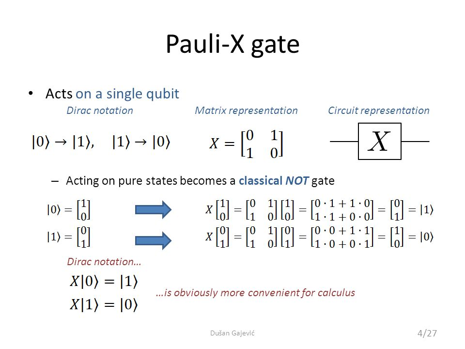 Pauli-X gate – Acting on a general qubit state – It is its own inverse 5/27 Dušan Gajević