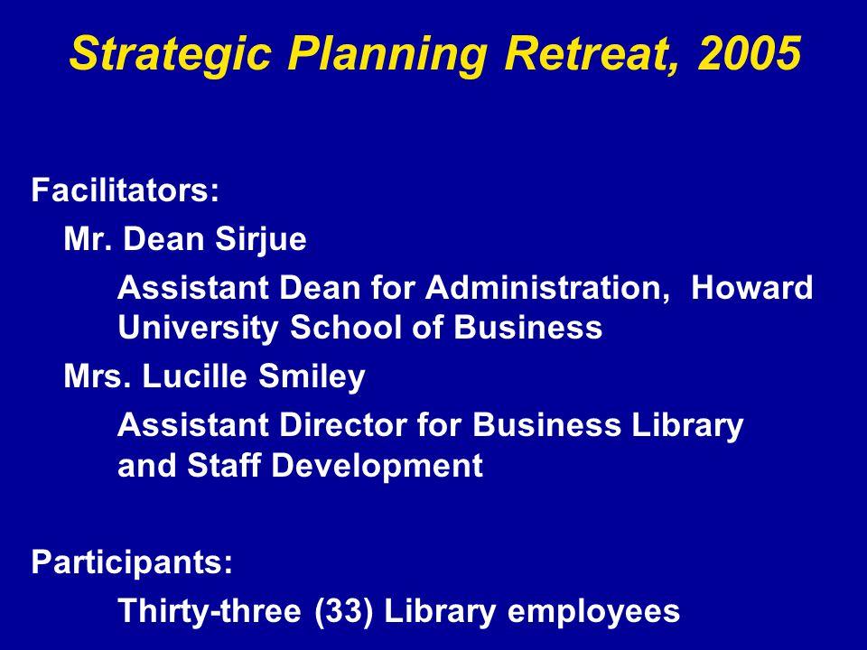 Strategic Planning Retreat, 2005 Facilitators: Mr.