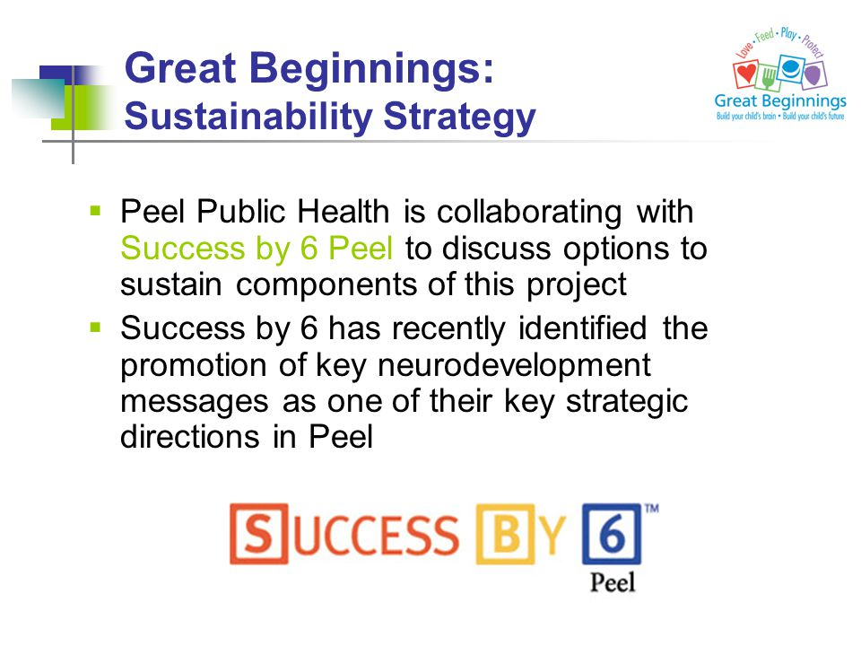 Great Beginnings: Sustainability Strategy  Peel Public Health is collaborating with Success by 6 Peel to discuss options to sustain components of this project  Success by 6 has recently identified the promotion of key neurodevelopment messages as one of their key strategic directions in Peel