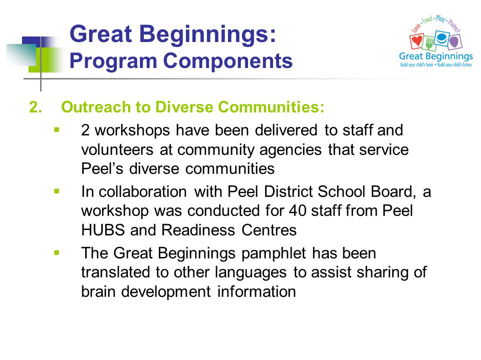 Great Beginnings: Program Components 2.Outreach to Diverse Communities:  2 workshops have been delivered to staff and volunteers at community agencies that service Peel's diverse communities  In collaboration with Peel District School Board, a workshop was conducted for 40 staff from Peel HUBS and Readiness Centres  The Great Beginnings pamphlet has been translated to other languages to assist sharing of brain development information