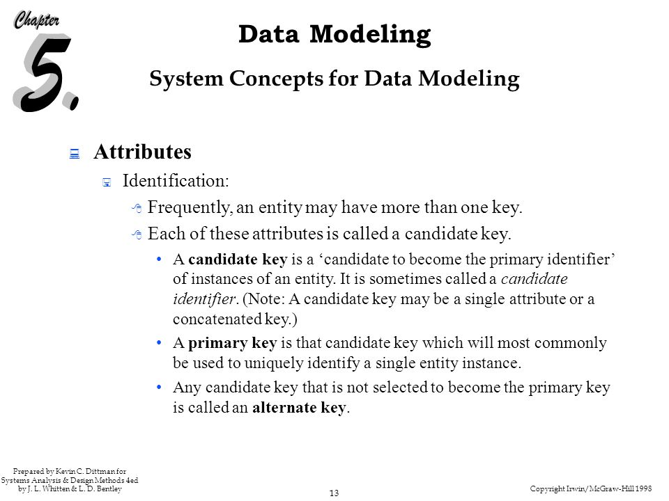 Copyright Irwin/McGraw-Hill 1998 13 Data Modeling Prepared by Kevin C. Dittman for Systems Analysis & Design Methods 4ed by J. L. Whitten & L. D. Bent