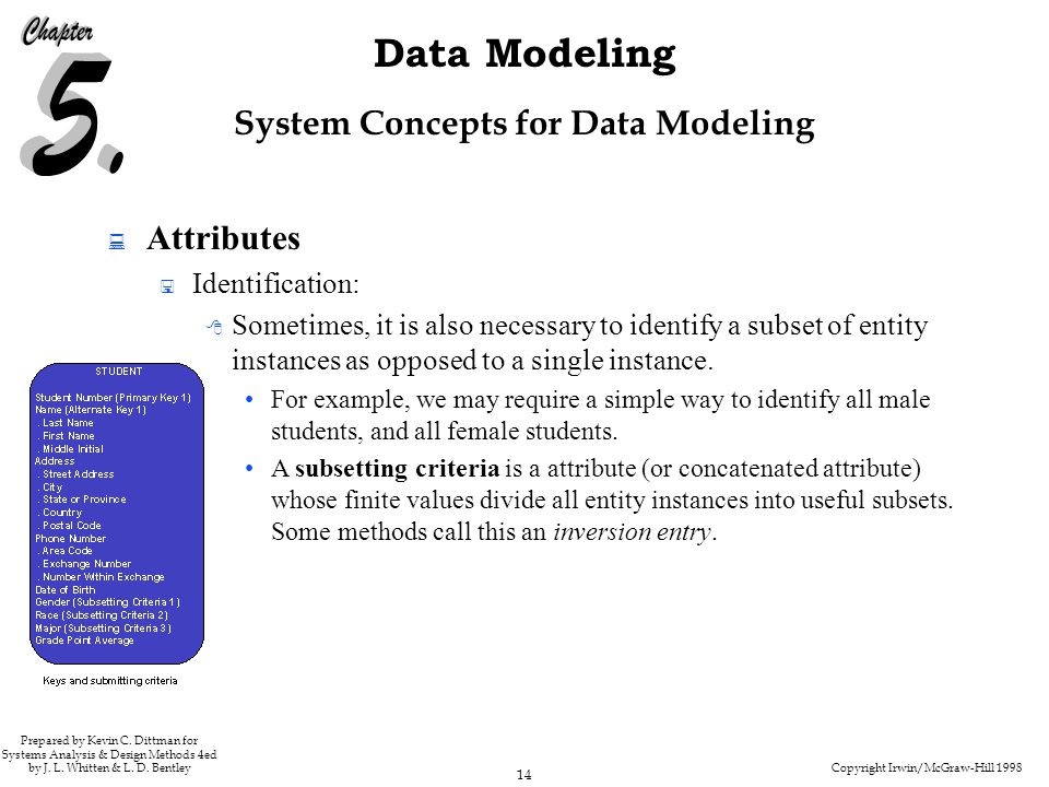 Copyright Irwin/McGraw-Hill 1998 14 Data Modeling Prepared by Kevin C. Dittman for Systems Analysis & Design Methods 4ed by J. L. Whitten & L. D. Bent