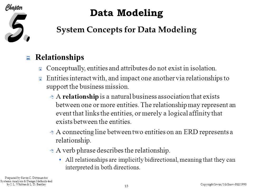 Copyright Irwin/McGraw-Hill 1998 15 Data Modeling Prepared by Kevin C. Dittman for Systems Analysis & Design Methods 4ed by J. L. Whitten & L. D. Bent