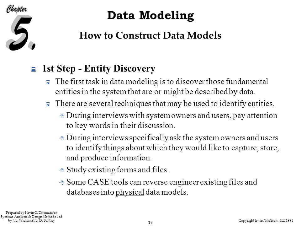 Copyright Irwin/McGraw-Hill 1998 19 Data Modeling Prepared by Kevin C.
