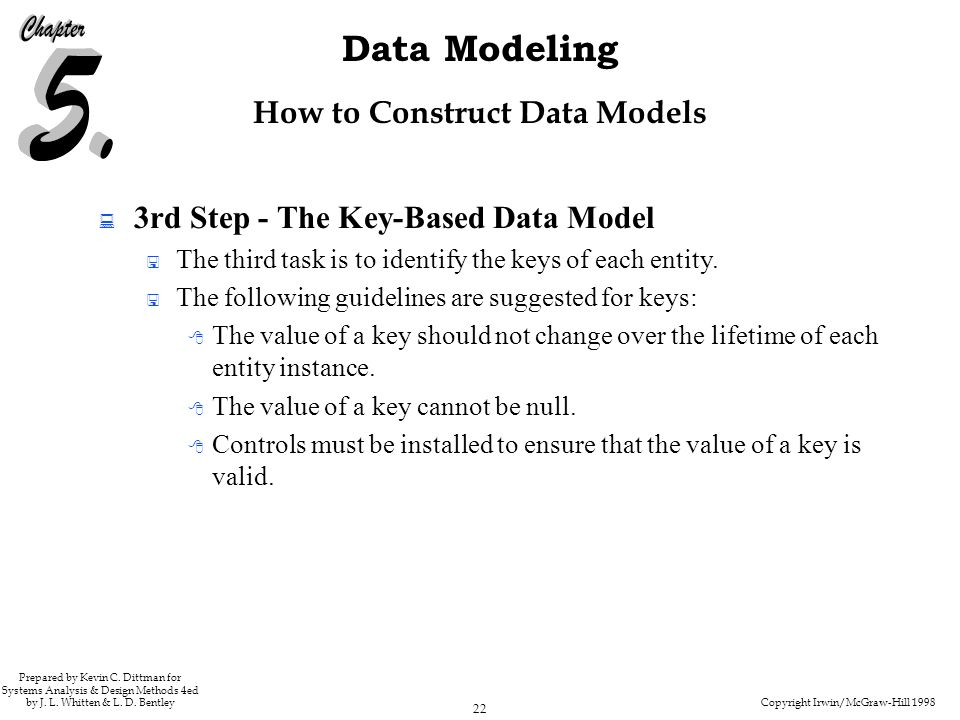 Copyright Irwin/McGraw-Hill 1998 22 Data Modeling Prepared by Kevin C. Dittman for Systems Analysis & Design Methods 4ed by J. L. Whitten & L. D. Bent