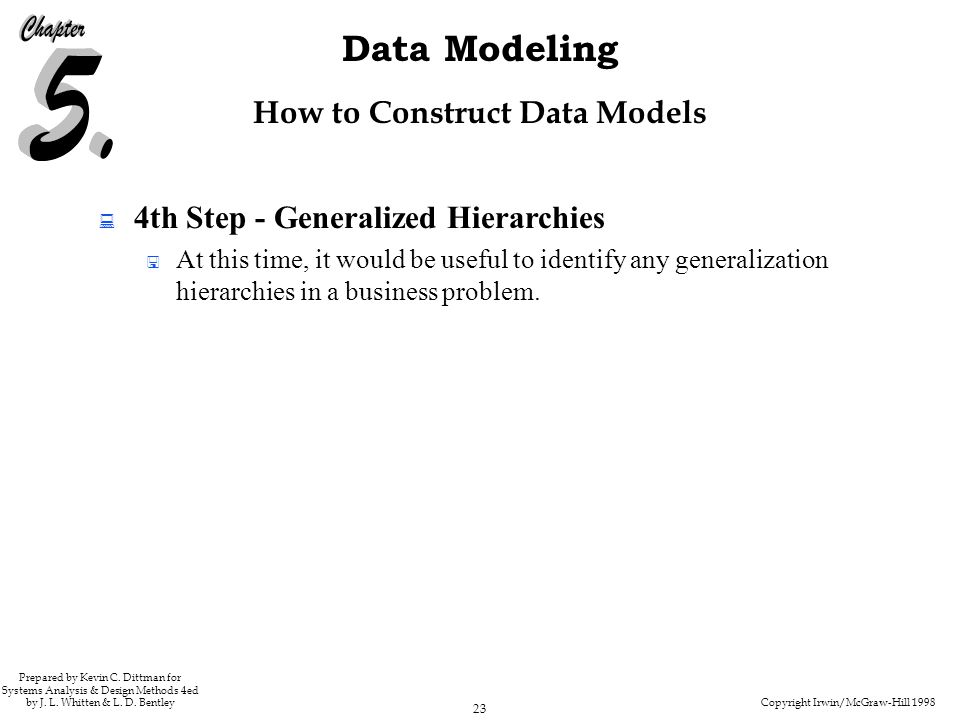 Copyright Irwin/McGraw-Hill 1998 23 Data Modeling Prepared by Kevin C.