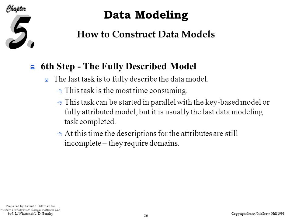 Copyright Irwin/McGraw-Hill 1998 26 Data Modeling Prepared by Kevin C.
