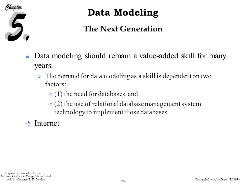 Copyright Irwin/McGraw-Hill 1998 28 Data Modeling Prepared by Kevin C. Dittman for Systems Analysis & Design Methods 4ed by J. L. Whitten & L. D. Bent