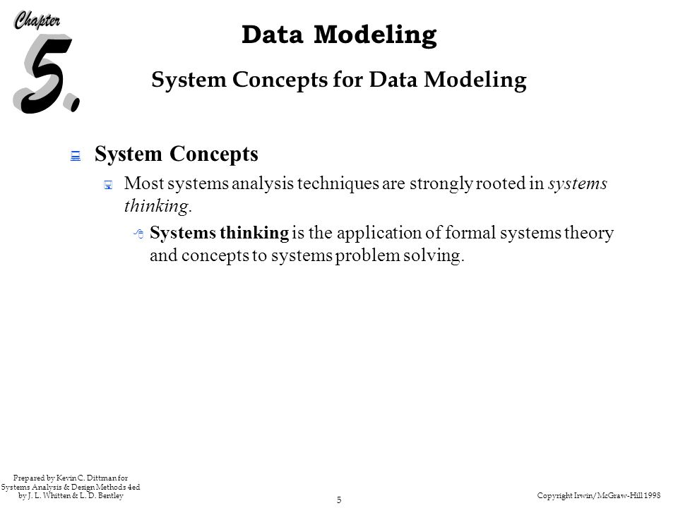 Copyright Irwin/McGraw-Hill 1998 5 Data Modeling Prepared by Kevin C.