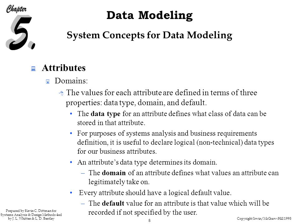 Copyright Irwin/McGraw-Hill 1998 8 Data Modeling Prepared by Kevin C.