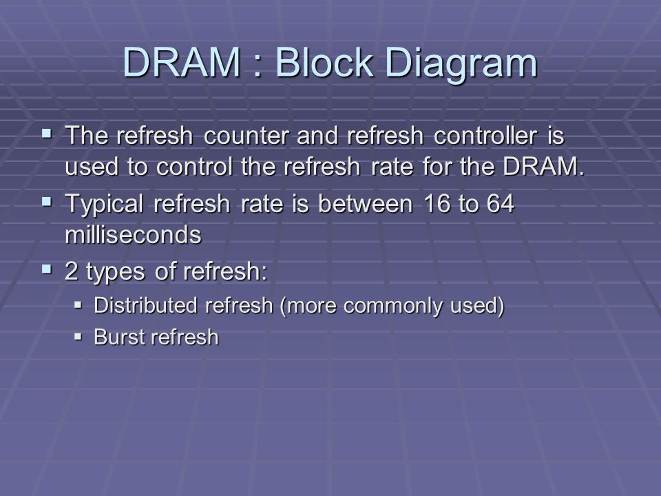 DRAM : Block Diagram  The refresh counter and refresh controller is used to control the refresh rate for the DRAM.