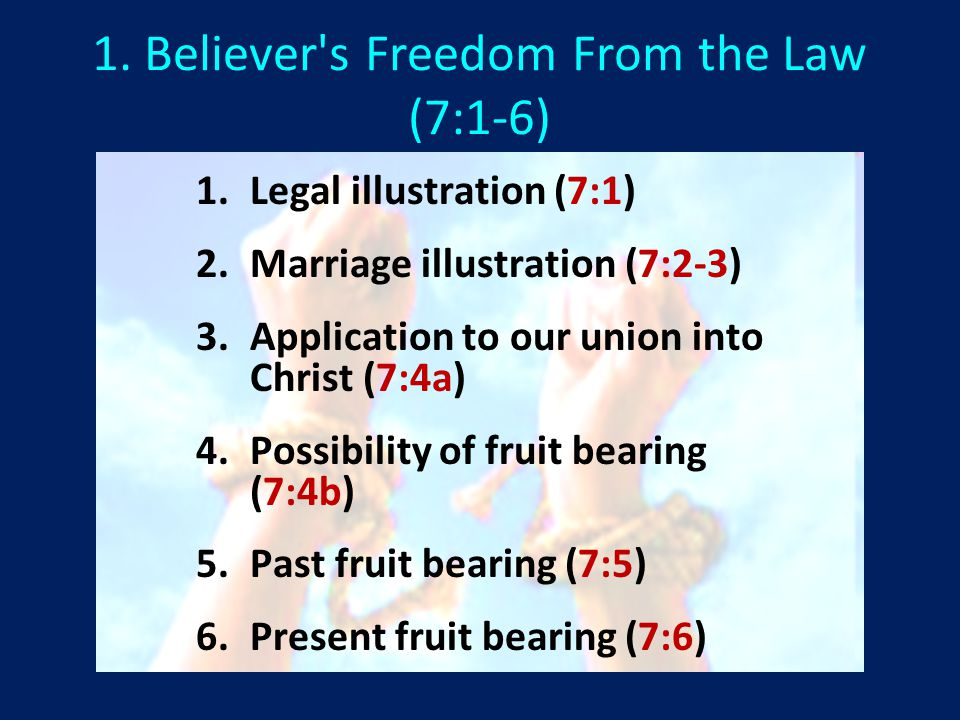 1. Believer s Freedom From the Law (7:1-6) 1. 1.Legal illustration (7:1) 2.