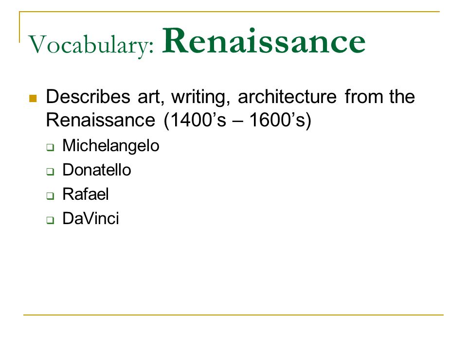 Renaissance Features of Renaissance art:  Showed religious and non-religious scenes  Great interest in nature  Lifelike, 3-D figures, lifelike anatomy  Figures nude or clothed  Faces expressed emotion, thoughts  Paintings were symmetrical  Full backgrounds showed perspective