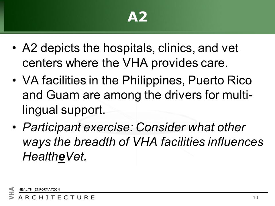 Click to edit Master title style HEALTH INFORMATION 10 A2 A2 depicts the hospitals, clinics, and vet centers where the VHA provides care.