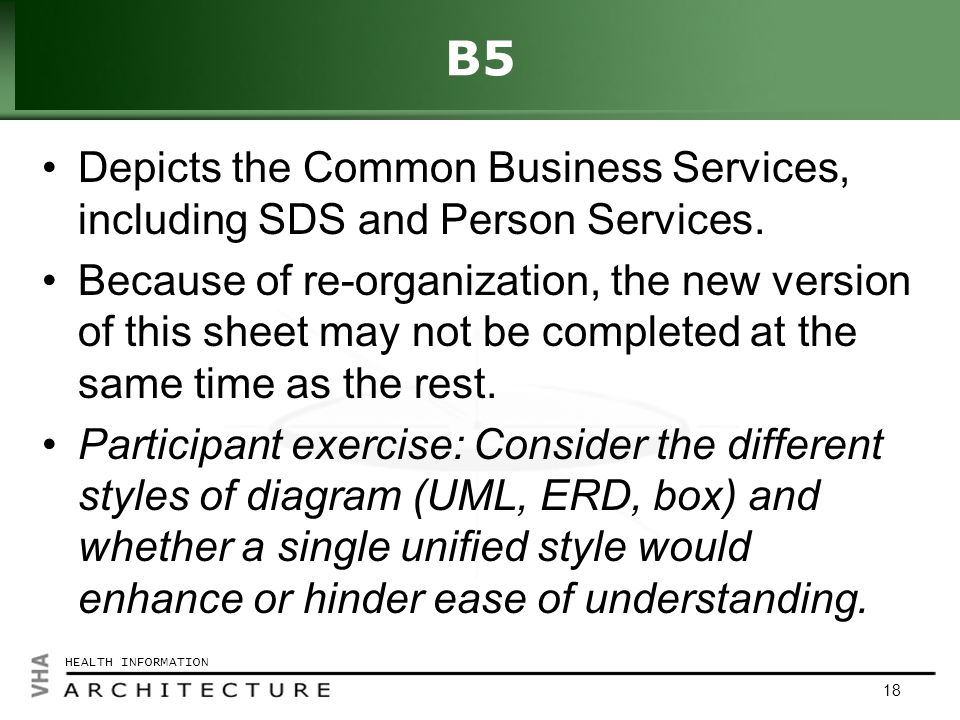 Click to edit Master title style HEALTH INFORMATION 18 B5 Depicts the Common Business Services, including SDS and Person Services.