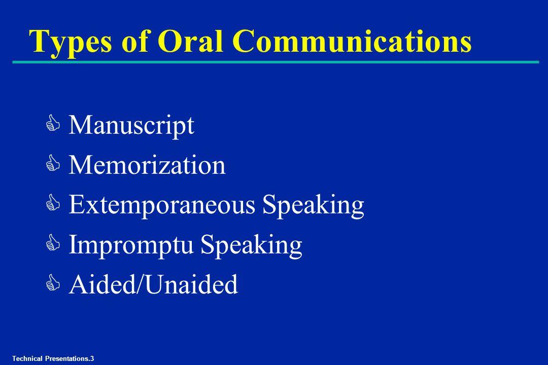 Technical Presentations.3 Types of Oral Communications C Manuscript C Memorization C Extemporaneous Speaking C Impromptu Speaking C Aided/Unaided