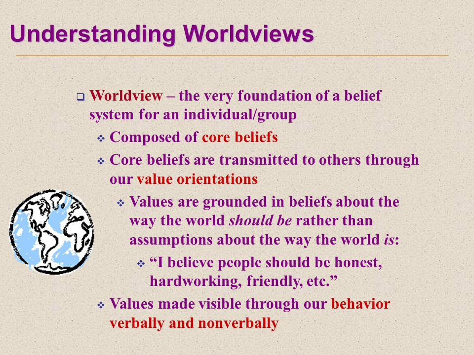 Understanding Worldviews  Worldview – the very foundation of a belief system for an individual/group  Composed of core beliefs  Core beliefs are transmitted to others through our value orientations  Values are grounded in beliefs about the way the world should be rather than assumptions about the way the world is:  I believe people should be honest, hardworking, friendly, etc.  Values made visible through our behavior verbally and nonverbally