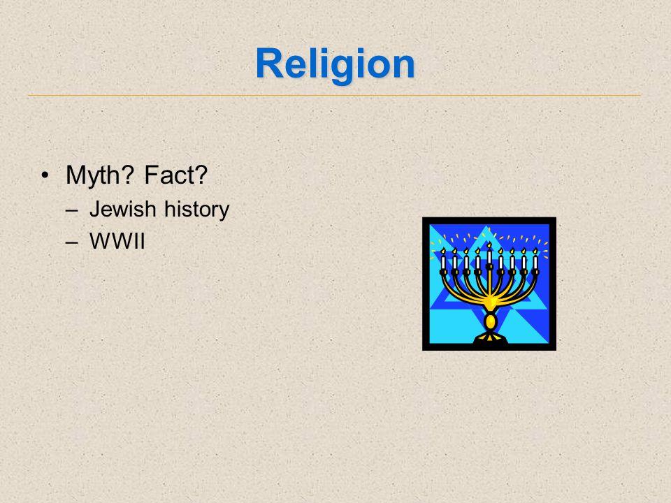 Religion Myth Fact –Jewish history –WWII