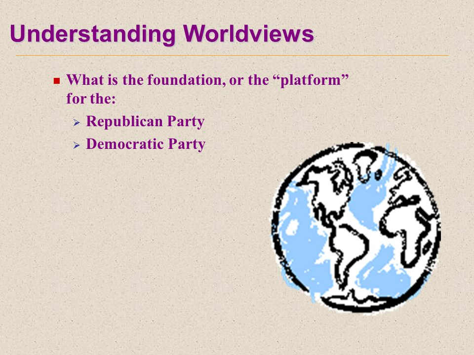 Understanding Worldviews What is the foundation, or the platform for the:  Republican Party  Democratic Party