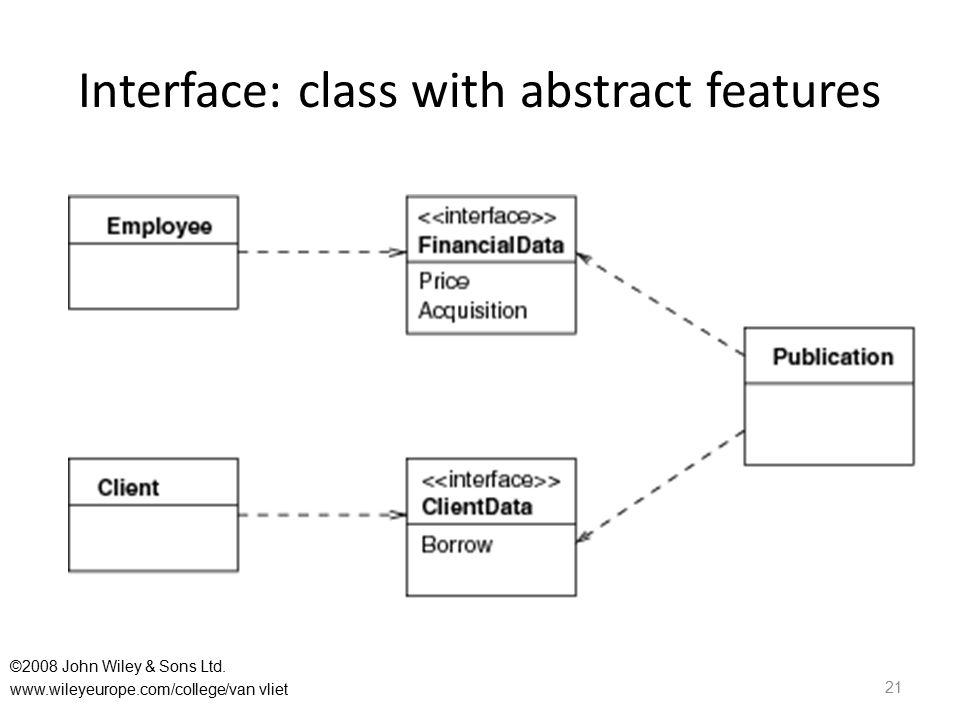 Interface: class with abstract features 21 ©2008 John Wiley & Sons Ltd. www.wileyeurope.com/college/van vliet