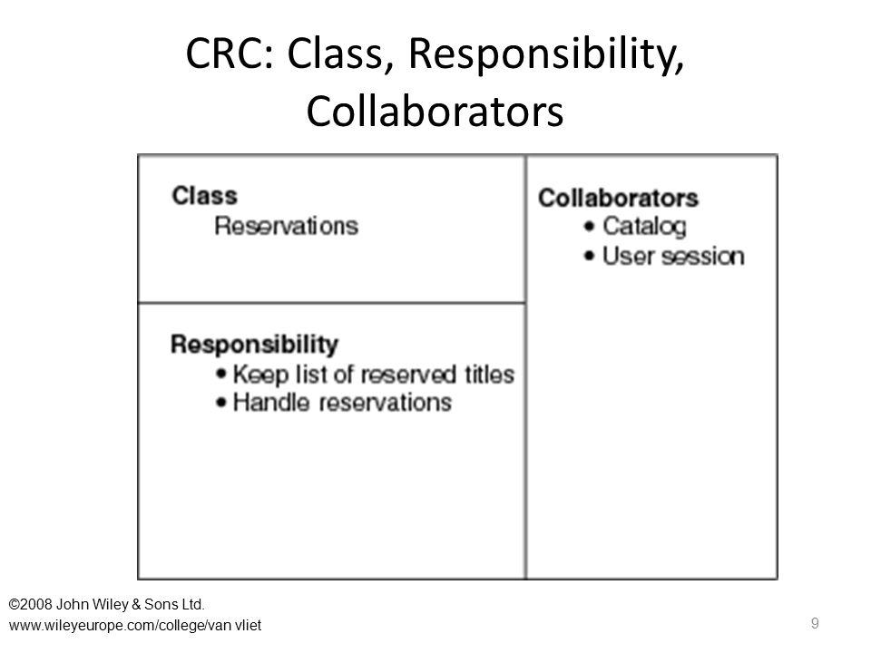 CRC: Class, Responsibility, Collaborators 9 ©2008 John Wiley & Sons Ltd. www.wileyeurope.com/college/van vliet