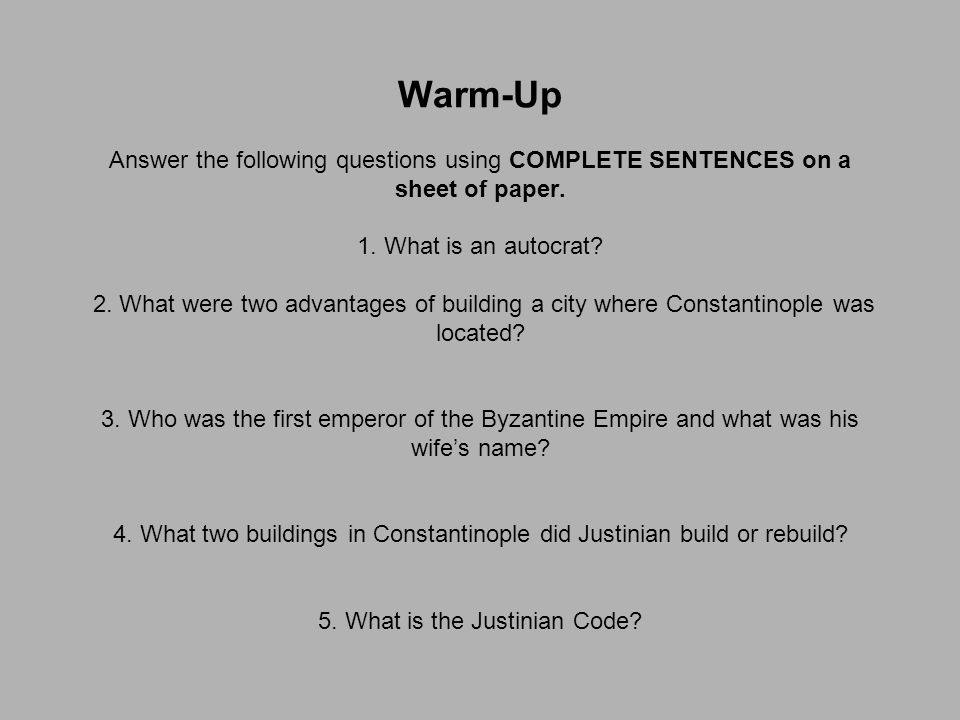 Agenda for Today Warm-Up #1 Byzantine Art/Architecture Notes The Great Schism Activity Byzantine/Russia Worksheet Justinian Code Worksheet