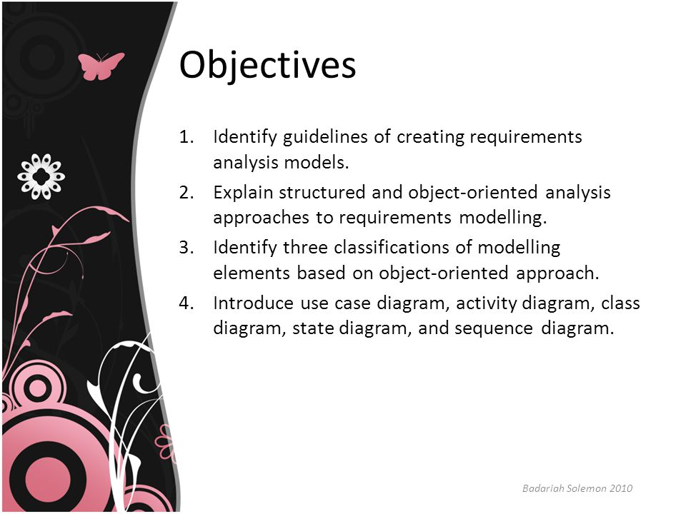 OO Analysis Approach (cnt'd) 2.Class-based to specify classes and objects, attributes, operations, and associations and dependencies.