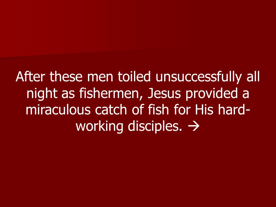 After these men toiled unsuccessfully all night as fishermen, Jesus provided a miraculous catch of fish for His hard- working disciples.
