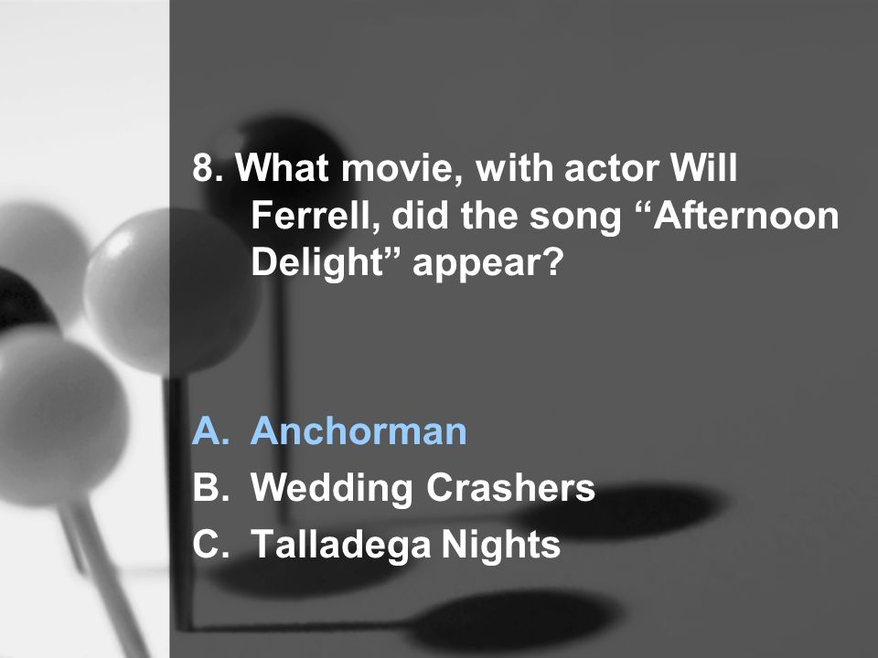 8. What movie, with actor Will Ferrell, did the song Afternoon Delight appear.