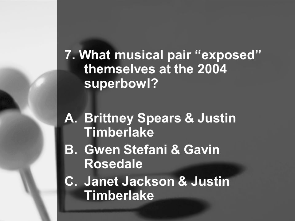 7. What musical pair exposed themselves at the 2004 superbowl.