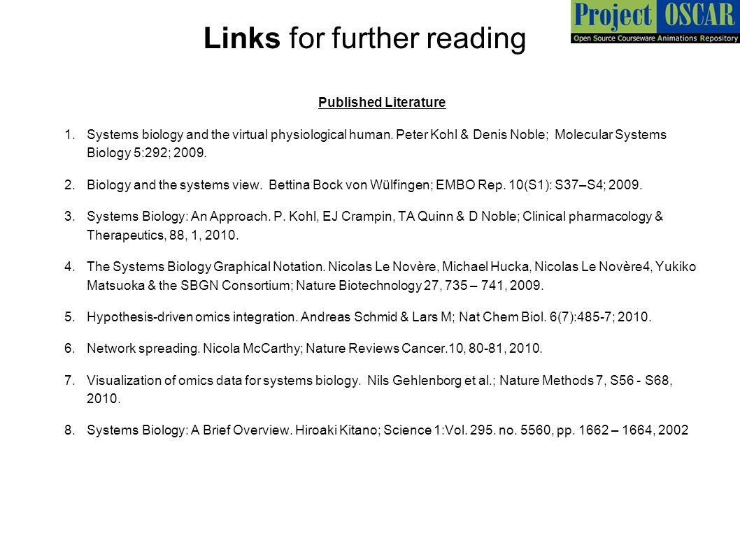 Links for further reading Published Literature 1.Systems biology and the virtual physiological human. Peter Kohl & Denis Noble; Molecular Systems Biol