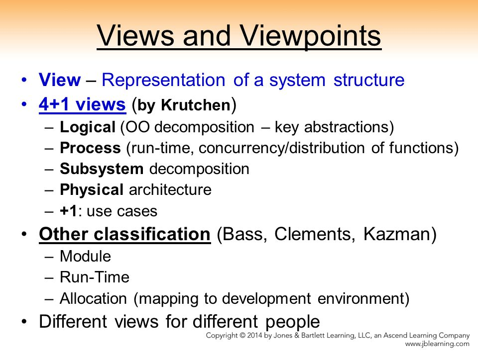 Views and Viewpoints View – Representation of a system structure 4+1 views ( by Krutchen ) –Logical (OO decomposition – key abstractions) –Process (run-time, concurrency/distribution of functions) –Subsystem decomposition –Physical architecture –+1: use cases Other classification (Bass, Clements, Kazman) –Module –Run-Time –Allocation (mapping to development environment) Different views for different people