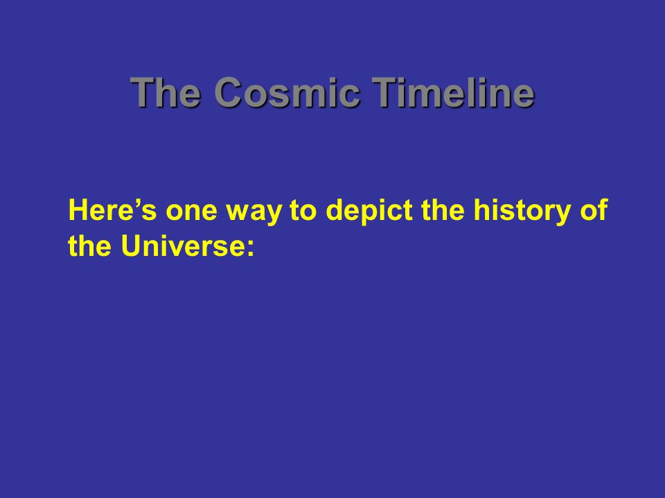 The Cosmic Timeline Here's one way to depict the history of the Universe: