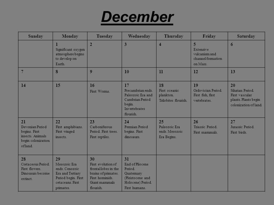 December SundayMondayTuesdayWednesdayThursdayFridaySaturday 1 Significant oxygen atmosphere begins to develop on Earth.