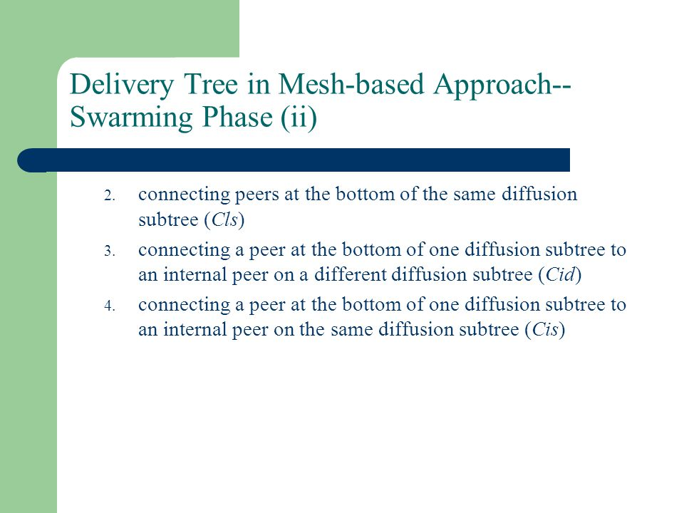 Delivery Tree in Mesh-based Approach-- Swarming Phase (ii) 2.