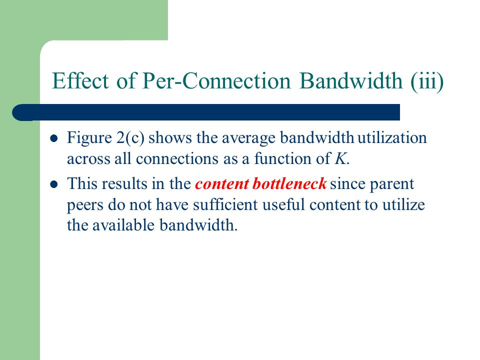 Effect of Per-Connection Bandwidth (iii) Figure 2(c) shows the average bandwidth utilization across all connections as a function of K.