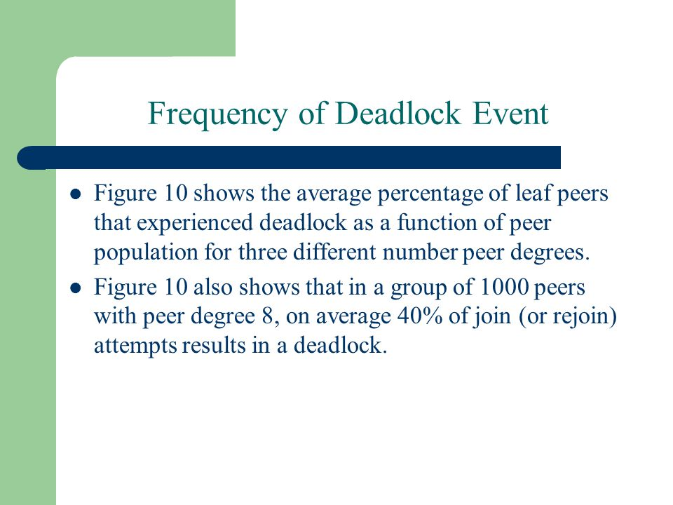 Frequency of Deadlock Event Figure 10 shows the average percentage of leaf peers that experienced deadlock as a function of peer population for three different number peer degrees.
