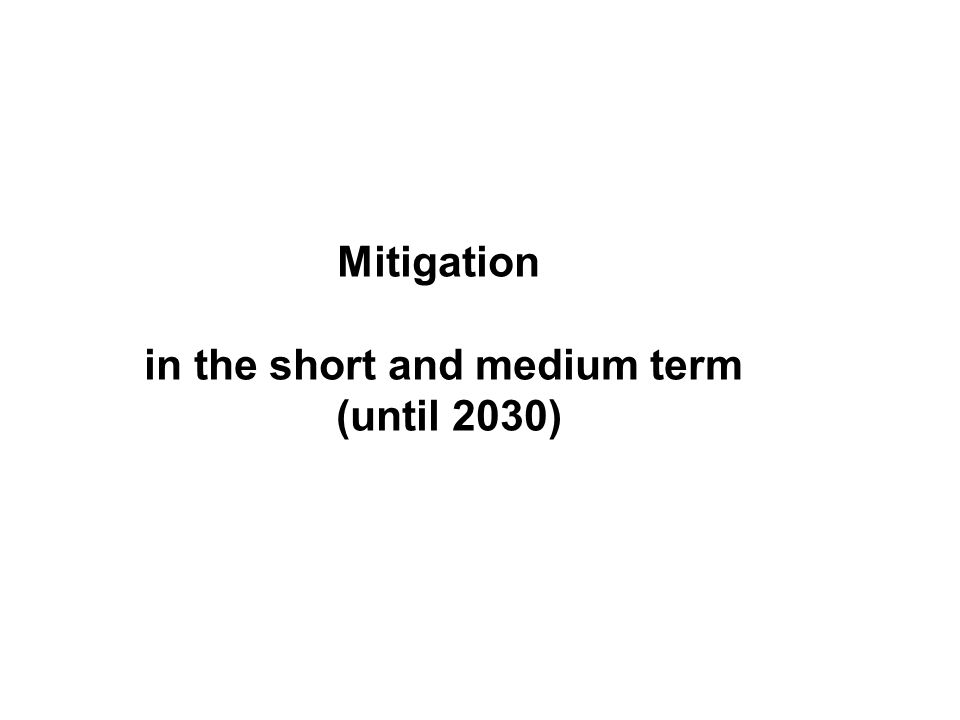 Mitigation in the short and medium term (until 2030)