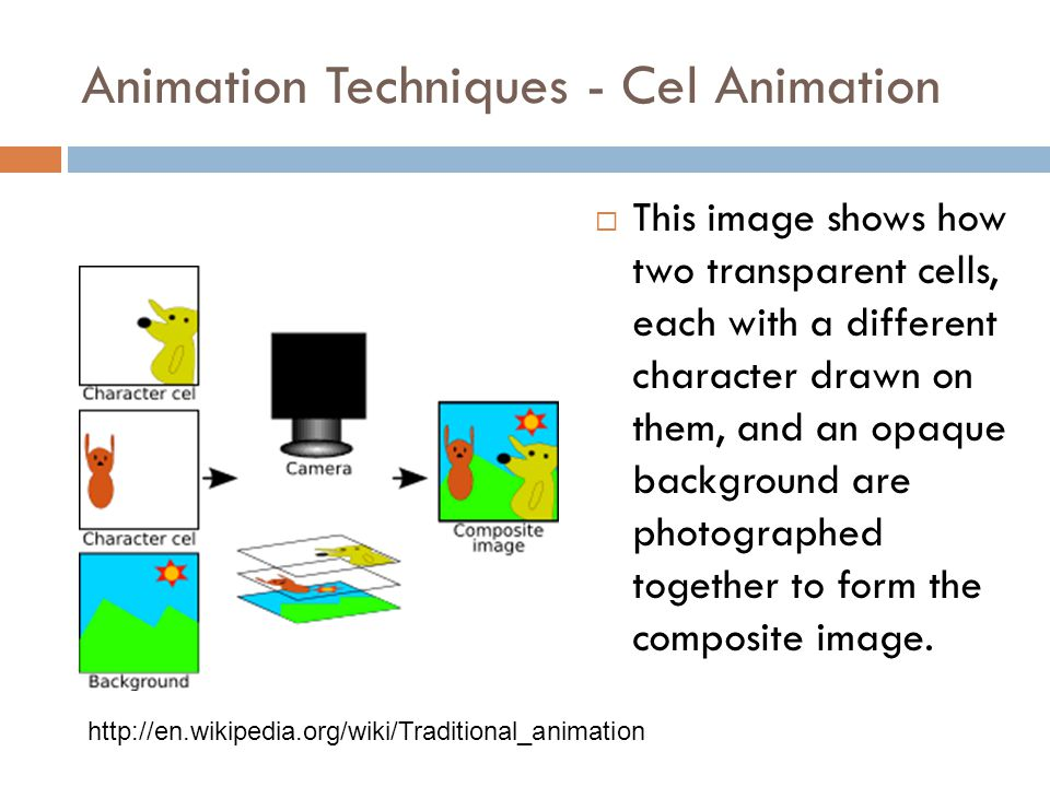 Animation Techniques cel animation  Traditional animation, sometimes also called cel animation or hand-drawn animation, is the oldest and historicall