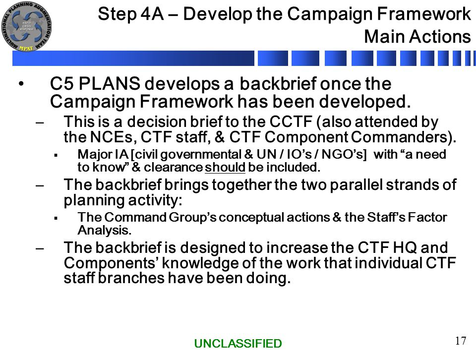 UNCLASSIFIED 17 Step 4A – Develop the Campaign Framework Main Actions C5 PLANS develops a backbrief once the Campaign Framework has been developed.