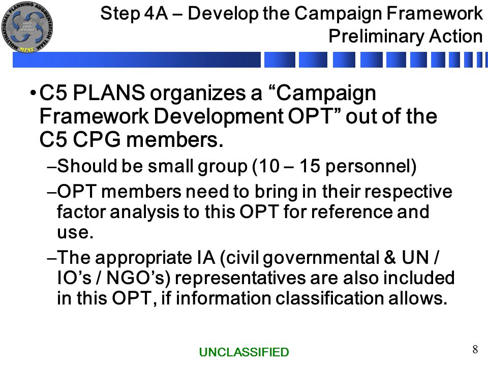 "UNCLASSIFIED 8 Step 4A – Develop the Campaign Framework Preliminary Action C5 PLANS organizes a ""Campaign Framework Development OPT"" out of the C5 CPG"